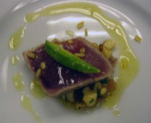 Garg's seared ahi with corn chaat takes a cue from Indian street food.