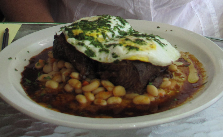 braised shortribs atop white bean ragout. even the beans are Maui grown