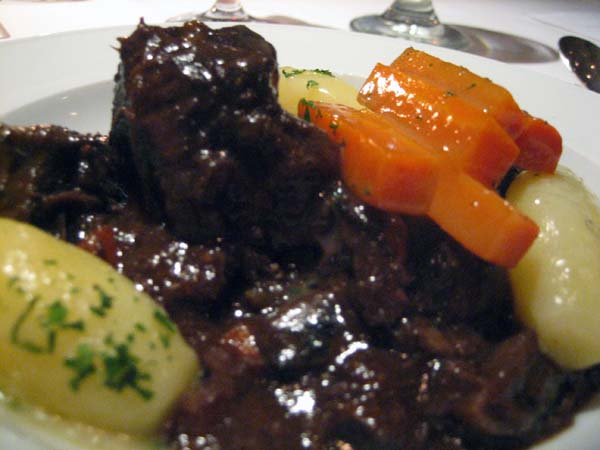 Beouf bourgignon close up.