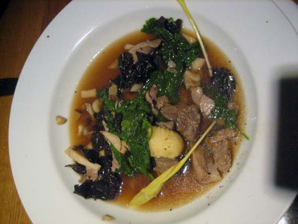 Big Island boar in broth with Hamakua mushrooms