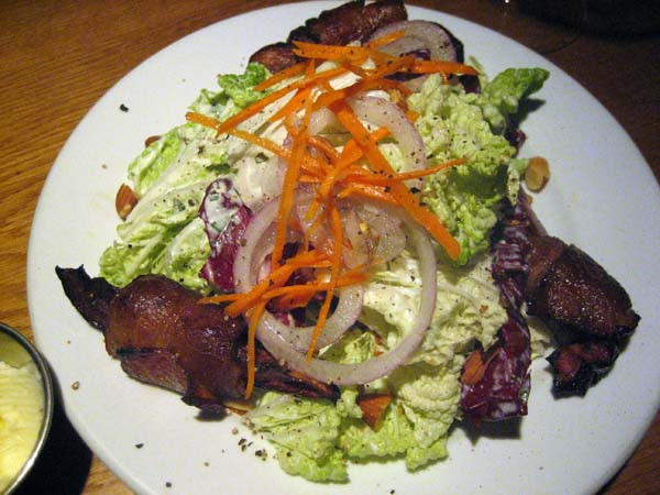 Napa cabbage salad with bacon-wrapped mountain apple