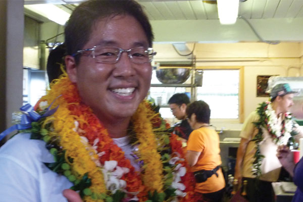 Chef Mark Noguchi, smiling king of his new domain, at the opening of of He'iea Pier General Store + Deli in May 2011.