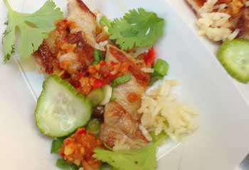 Lee Ann Wong's pork belly with Hawaiian chili shrimp